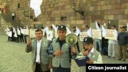 Өзбекстан Элдик кыймылынын Швеция борбору -Стокгольмдагы нааразылык акциясы. 2-сентябрь, 2011-жыл.