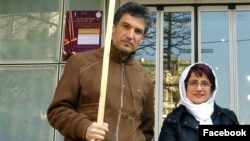 Farhad Meysami (left) and Nasrin Sotoudeh in an undated photo