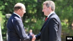 Macedonia - Macedonian President Gjorge Ivanov and the Romanian President Traian Basescu in Skopje - 27May2010