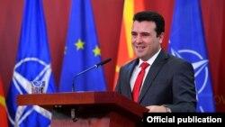 Macedonian Prime Minister Zoran Zaev speaks to reporters on January 12 in Skopje.
