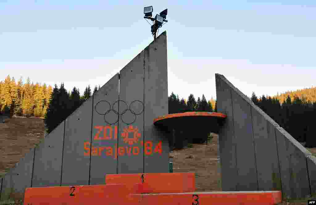 The podium where medals were awarded near the ski jump site on Mount Igman, near Sarajevo