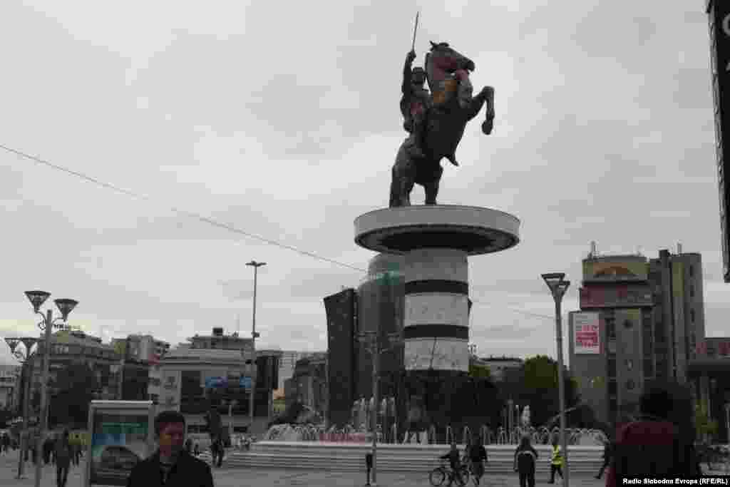 A monument to Alexander the Great in the center of Skopje