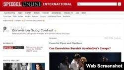 Вэб-скрин со статьи в Der Spiegel о значимости победы Азербайджана на Eurovision