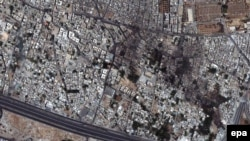 A satellite image shows a general view of the Qabun neighborhood in Damascus on July 18.