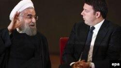 Италия - Иран президенти Хасан Роухани Италия премьери Маттео Ренци менен. Рим, 25-январь, 2016.