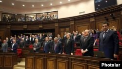 Armenia - Parliament deputies observe a minute of silence for people killed in bloody street protests in Ukraine, Yerevan, 24Feb2014.