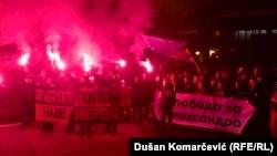 Okupljeni u šetnji u znak podrške Obradoviću (Valjevo, 6. decembar)