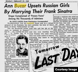 Статья о свадьбе Аннабелл Бюкар, 27 февраля 1949