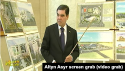 Turkmenistan. Berdymuhamedov took part at presentation of construction projects.Turkmen State TV. June 2018