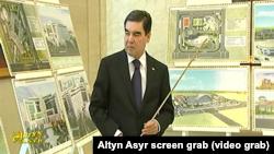 Turkmenistan. Berdymuhamedov took part at presentation of construction projects.Turkmen State TV. June 2018