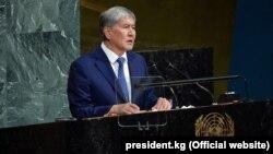 Алмазбек Атамбаев на сессии Генассамблеи ООН. 20 сентября 2017 года.