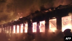 The burning retirement home in Podyelsk where 23 people died