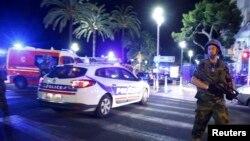 Ницца қаласыфндағы шабуыл болған орын. Франция, 14 шілде 2016 жыл.