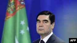 Turkmen President Gurbanguly Berdymukhammedov at a joint press conference with the German chancellor in Berlin in August 2016.