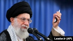 Iranian Supreme Leader Ayatollah Ali Khamenei speaks at a meeting in Tehran in August.