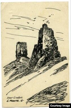 Наваградак. Руіны замку. Малюнак C.Frante. 06.04.1918. Архіў В. Багданава