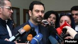 Armenia -- Iran's Ambassador to Armenia Seyyed Kazem Sajjad talks to reporters in Yerevan, 18Feb2016.