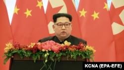Hytaý, Demirgazyk Koreýanyň lideri Kim Jong Un söz sözleýär. Arhiw suraty