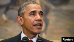 ԱՄՆ - Նախագահ Բարաք Օբաման հայտարարությամբ է հանդես գալիս Սպիտակ տանը, Վաշինգտոն, 25-ը նոյեմբերի, 2015թ․