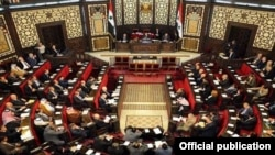 Syria - The Syrian parliament holds a special session dedicated to the centenary of the Armenian genocide, Damascus, 17Mar2015.