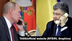 Президент Украины Петр Порошенко (справа) и президент России Владимир Путин (слева). Коллаж