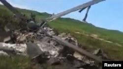 Обломки вертолета Ми-24, сбитого над Нагорным Карабахом