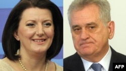 Kosovo's Atifete Jahjaga (left) and Serbia's Tomislav Nikolic are holding their first meeting under EU auspices.