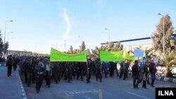 راهپیمایی کارگران معدن چادرملو در بافق استان یزد