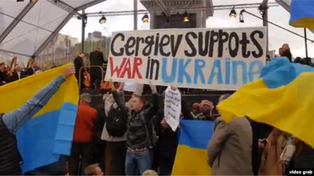 Protesters welcomed Valery Gergiev to London earlier this month.