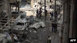 Дамаск маңындағы соғыстан қираған аудан. Сирия.
