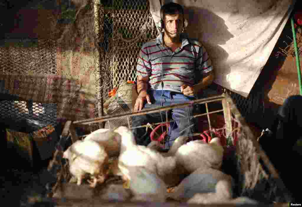 A poultry merchant listens to music at a market in Sadr City. The neighborhood is home to some 1 million people.