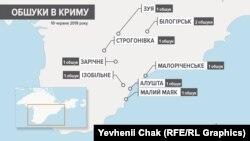 Карта обшуків у помешканнях кримських татар в анексованому Росією Криму 10 червня 2019 року