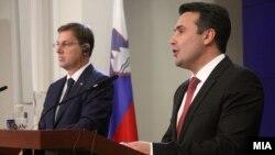 Прес-конференција на премиерите на Македонија и Словенија Заев и Церар