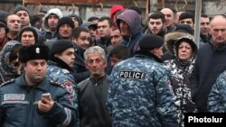 Armenia -- Supporters of former President Serzh Sarkisian rally outside a court building in Yerevan, February 25, 2020.