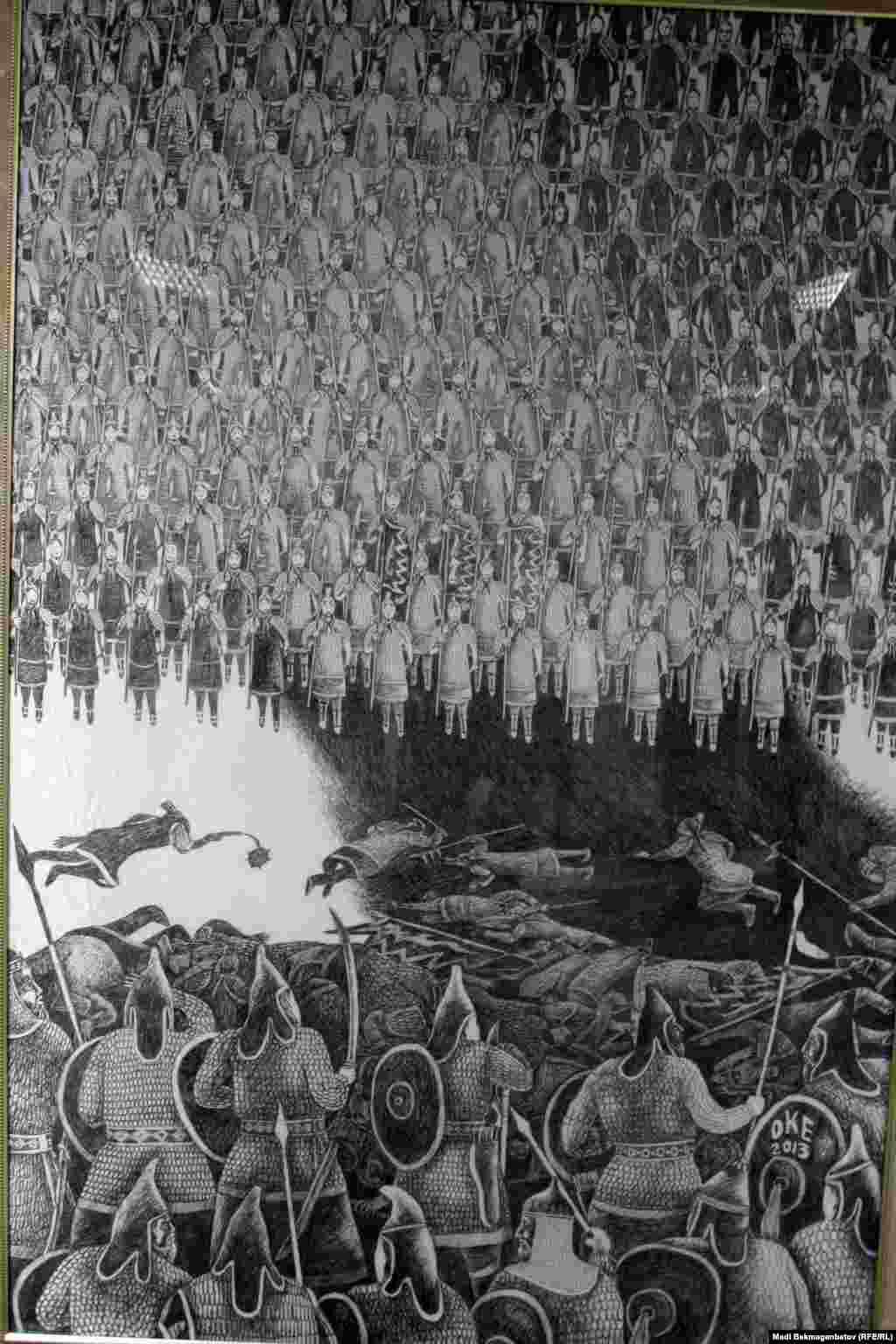 """Қазақ хандығының 550 жылдығына арналған көрмедегі О. Есенбаевтың """"Басқыншылық"""" картинасы. Астана, 17 қыркүйек 2015 жыл."""