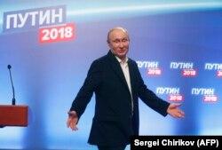 Владимир Путин после завершения голосования на выборах президента России
