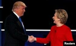Трамп и Клинтон после первых дебатов, 26 сентября 2016 года