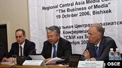 Markus Mueller (right) in 2006, when he was head of the OSCE Center in Bishkek