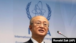 AUSTRIA -- Yukiya Amano, Director General of the International Atomic Energy Agency, IAEA, addresses the media during a news conference after a meeting of the IAEA board of governors at the International Center in Vienna, March 5, 2018