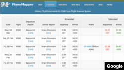 Screenshot of PlaneMapper showing scheduled Mahan Flights to Shanghai's Bayun International Airport on Febraury 28 and March 4.