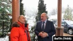 Уладзімір Пуцін і Аляксандар Лукашэнка, Сочы, 7 лютага 2020