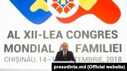 Președintele Igor Dodon la deschiderea reuniunii anti-gay la Chisinau, 14 septembrie 2018