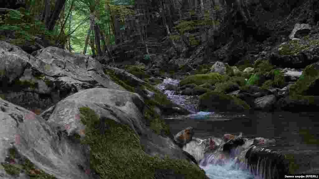 Горный ручей в Большом каньоне Крыма