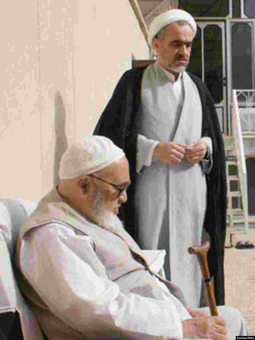 Iran -- major shi'ite cleric of Iran, Ayatollah Hossein Ali Montazeri with his son, undated - Major shi'ite clerics of Iran, Ayatollah Hossein Ali Montazeri with his son http://www.amontazeri.com/farsi/pic_display.asp?id=858