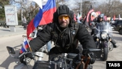 Aleksandr Zaldostanov, the leader of the Night Wolves biker group, takes part in a commemoration ceremony for soldiers killed during World War II memorial in Sevastopol, Crimea, in March.