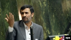 President Mahmud Ahmadinejad speaks in parliament in Tehran on August 30.