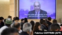 گزارشگر ویژه سازمان ملل در امور فلسطین در حال ارائه گزارش ویدئویی به نشست شورای حقوق بشر در ژنو