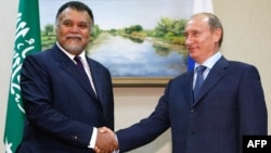 "The Kremlin has denied that Russian President Vladimir Putin (right) and Saudi Prince Bandar bin Sultan bin Abdul Aziz al-Saud discussed a grand bargain on Syria in ""detail."""