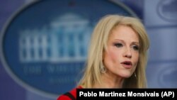 Consiliera prezidențială Kellyanne Conway în cursul unui interviu la CNN