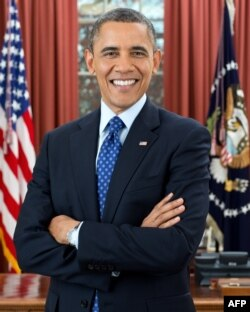 An official portait of Obama in the Oval Office released by the White House on January 17